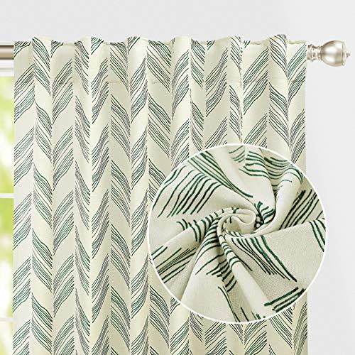 Cortinas de tela teñida con trabillas superiores, cortinas de algodón de granja, juego de 2 paneles, ultra gruesas y duraderas, paneles de ventana inversa, cortinas de dormitorio, (106 x 137 cm, verde negruzco)