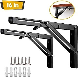 Folding Shelf Brackets,2 Pcs 16 Inch Heavy Duty Metal Collapsible Shelf Bracket for Bench Table, Wall Mounted DIY Triangle Brackets,Space Saving Max Load 198 lb