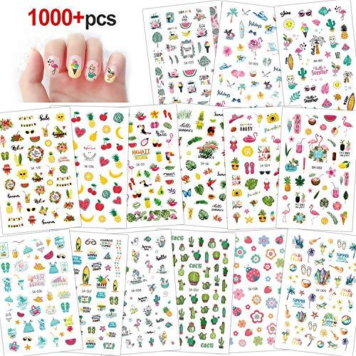 Konsait 3D Design Sommer Nagel Sticker selbstklebende Aufkleber nagel Tattoo Abziehbilder Hawaii Flamingo Kaktus Blume DIY Nail Art Dekoration für Frauen Mädchen Kinder, 15 Blatt