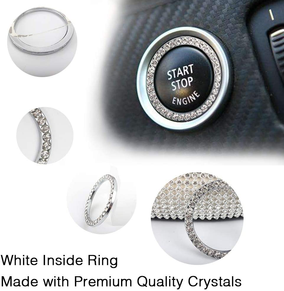 Diamond Steering Wheel Cover Set of 5 License Plate Frame with Mounting Screws Bling Car Accessories for Women Steering Wheel Cover Fit 15 Inch Ring Sticker for Button Key Car USB Charger