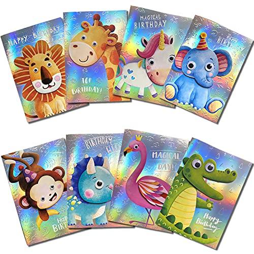 Biglietti Auguri Compleanno 3D per Bambini,Unicorno Elefante Biglietto Confezione Multipla con Busta...