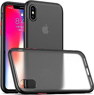 Eazaki iPhone Xs ケース iPhone X ケース 5.8インチ 半透明 マット感 耐衝撃 指紋や汗防止 滑り止め すり傷防止 ワイヤレス充電対応 持ちやすいカバー アイフォンXs/X スマホケース (ブラック)