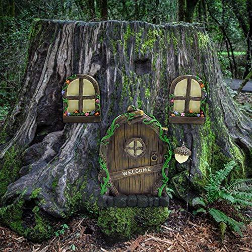Gartenskulptur Dekor, Miniatur Fee Gnom Home Fenster und Tür für Bäume, Yard Art Garten Skulptur Dekoration, Türen und Fenster in den Hof Gartenbäume (A)
