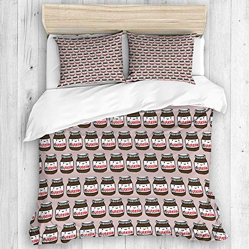 KOSALAER Bettwäsche-Set,Mikrofaser,Leckere Nutella,1 Bettbezug 135 x 200cm + 2 Kopfkissenbezug 50 x 80cm