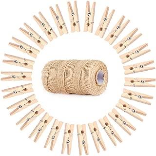 Koojawind Mini Pinzas para La Ropa Artesanales De Madera Natural Pinzas, Cuerda De JardíN De 100 M Cuerda De Yute Cuerda + 100Pc Pinza De Madera para FloristeríA DecoracióN De JardíN Regalos