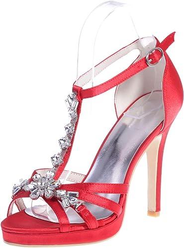 Elobaby Femmes Chaussures De Mariage Ivoire Taille 7, Strass Chaton à Hauts Talons Boucle Peep Toe Platform Party   11Cm Talon