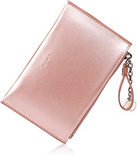 Womens Slim Front Pocket Wallet Mini Synthetic Leather Coin Change Purse Organizer with Key Chain
