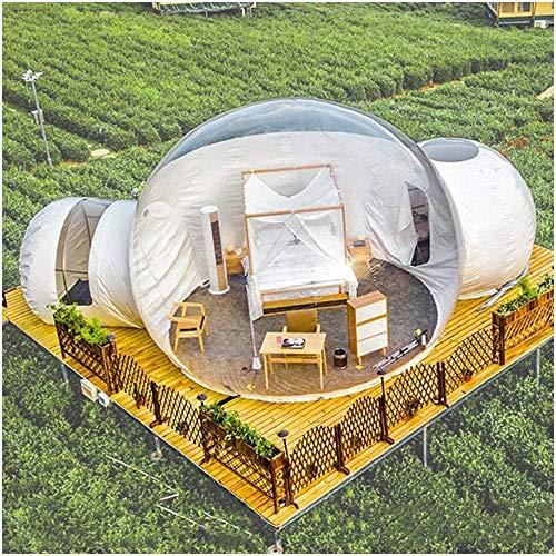 Aufblasbar Transparent Zelt Bubble House Familie Camping Hinterhof Air Dome Zelte Doppeltunnel,3m