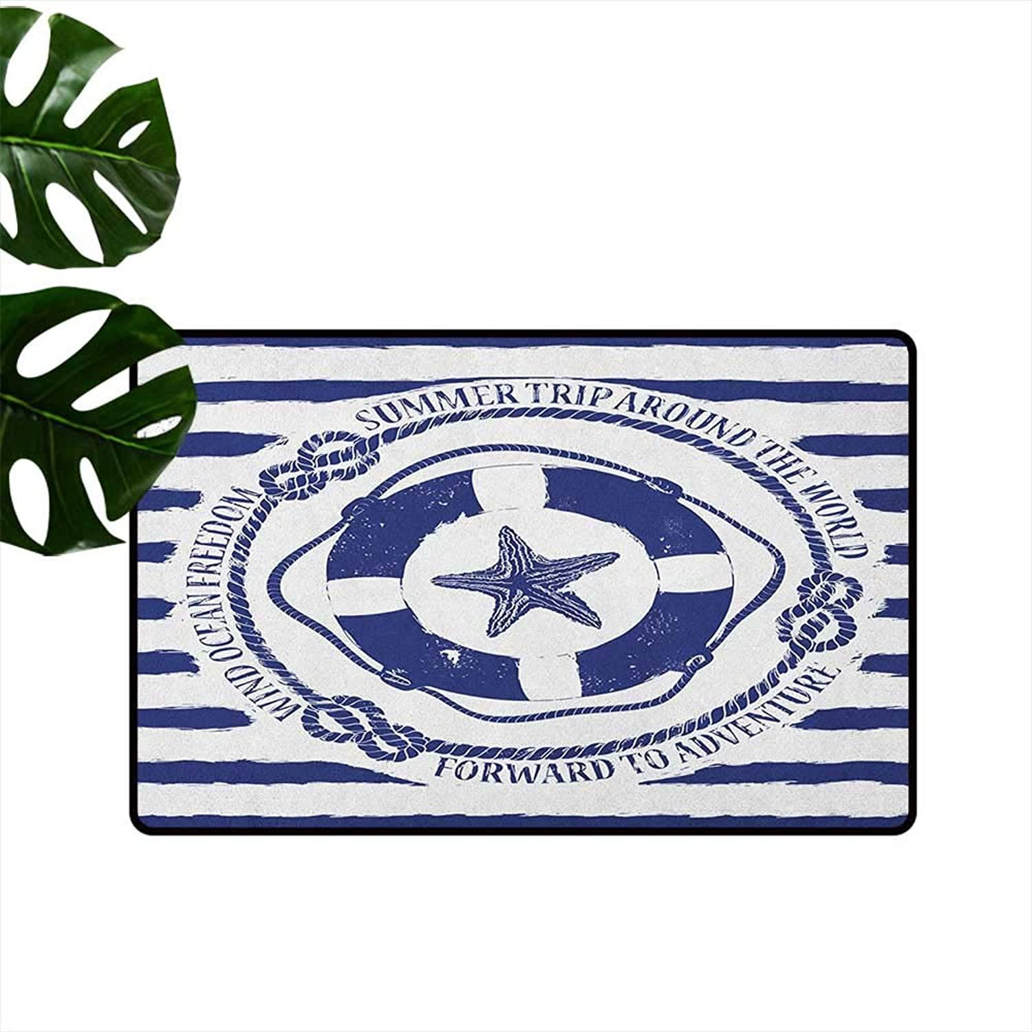 Starfish Waterproof Door mat Trip Around The World Nautical Emblem with Lifebuoy Starfish Striped Design Personality W35 x L59 Navy bluee White