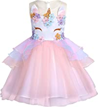 LEHNO Unicorn Pretend Play Dress Up Wedding Flower Girl Dress Birthday Party Dress Toddler Unicorn Cloth First Holy Communion