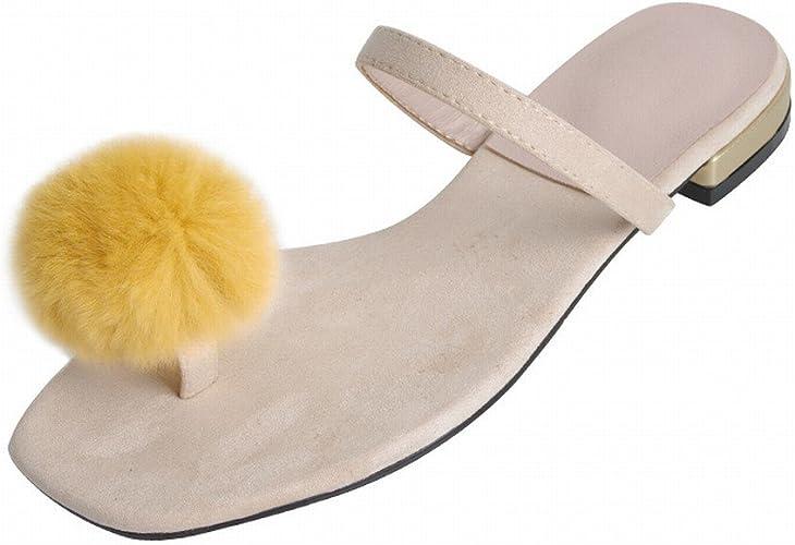 DIDIDD Mode Usure Chaussures Plates Orteil Femme Sauvage Paresseux Sandales,Abricot,38