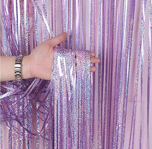 LIHAO 2 Stück Lametta Vorhänge Silber Fringe Tinsel Fransen Vorhang Schimmer Glitzervorhang Metall Folie Vorhang Girlande Party Deko für Gerburtstag Party Hochzeit Weihnachten Laser Lila