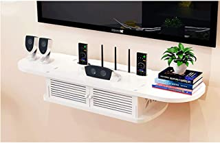 BBGSFDC Montado en la Pared Router WiFi Estante, 2 Nivel Media Console TV estantes flotantes Ahorrar Espacio de Gran Capac...