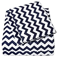 1500 Supreme Collection Bed Sheets - PREMIUM QUALITY BED SHEET SET & LOW PRICE, SINCE 2012 - Deep Pocket Wrinkle Free Hypoallergenic Bedding - 4 Piece Sheets - CHEVRON PRINT- Queen, Navy