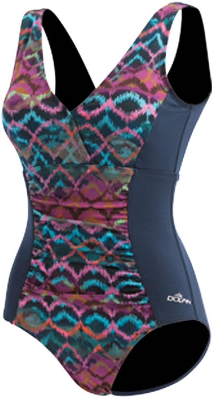 Dolfin Women's AQUASHAPE V-Neck Printed Front Panel ONE-Piece Swimsuit