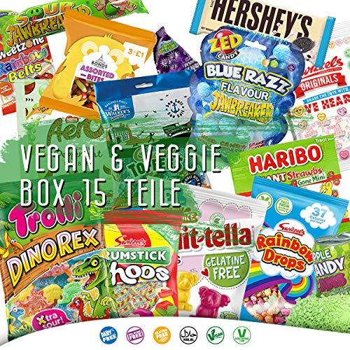 Vegan & Veggie Süßigkeiten Box aus aller Welt Kennenlernpaket 15 Tolle Produkte Candy Box