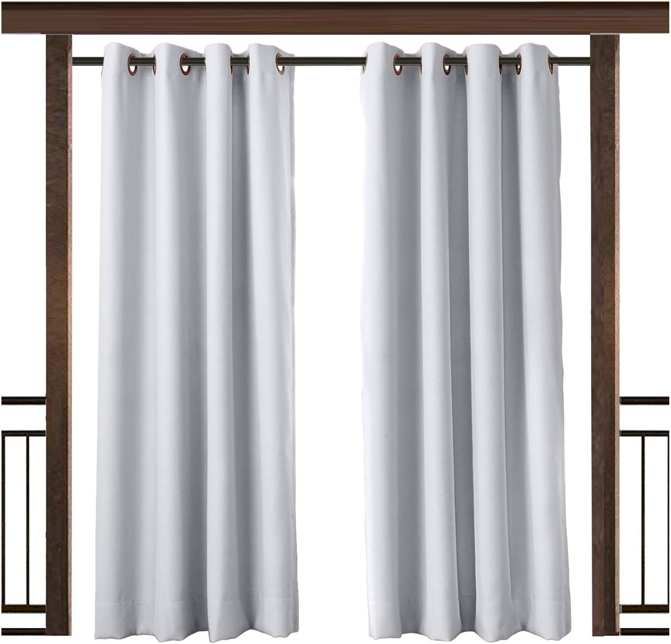 TWOPAGES Ranking TOP4 Gray White Outdoor Rustproof Curtain Waterproof quality assurance Grommet