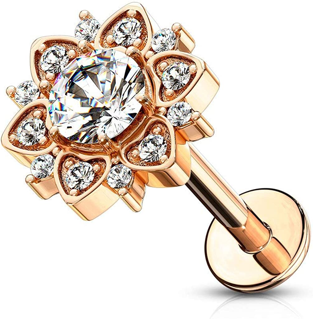 Forbidden Body Jewelry 16g 6-8mm Internally Threaded Surgical Steel Stud w/CZ Floral Top for Cartilage, Tragus, Labret & Monroe