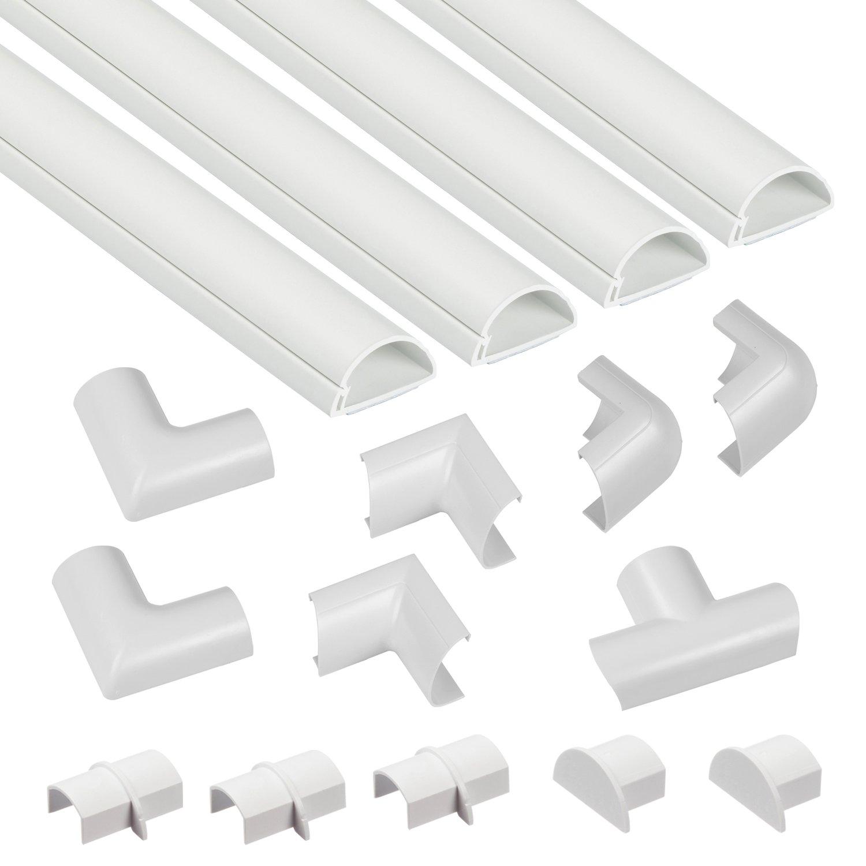 D-Line、Micro +ワイヤーとチューブのマルチピースセット、20×10 mm、長さ1メートル、ワイヤーとパイプの取り付け金具、白と白のミニ(30×15 mm)3015KIT001