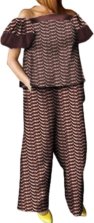 Cheelot Women's Dashiki Wide Leg Pants Africa Strapless Career Tshirts