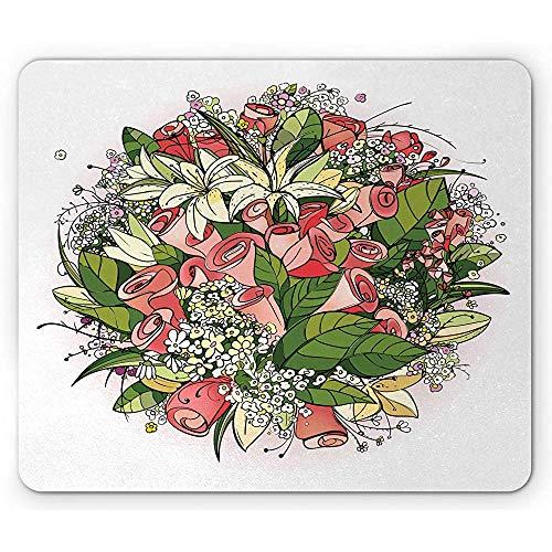 Blumenmausunterlage, Brautcorsage-Blumenstrauß mit Rosen-Blumen und Lilly Blooms Leaf Wedding Mousepad, Dunkles korallenrotes Farn-Grün