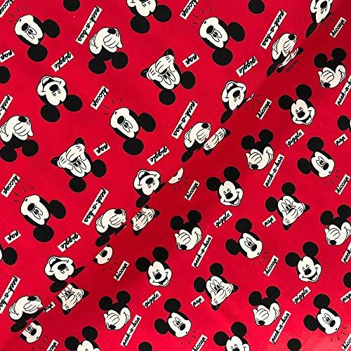 Swafing GmbH Lizenz Jersey Mickey Mouse Kopf rot - Stoff - Meterware - 0,5m x VB