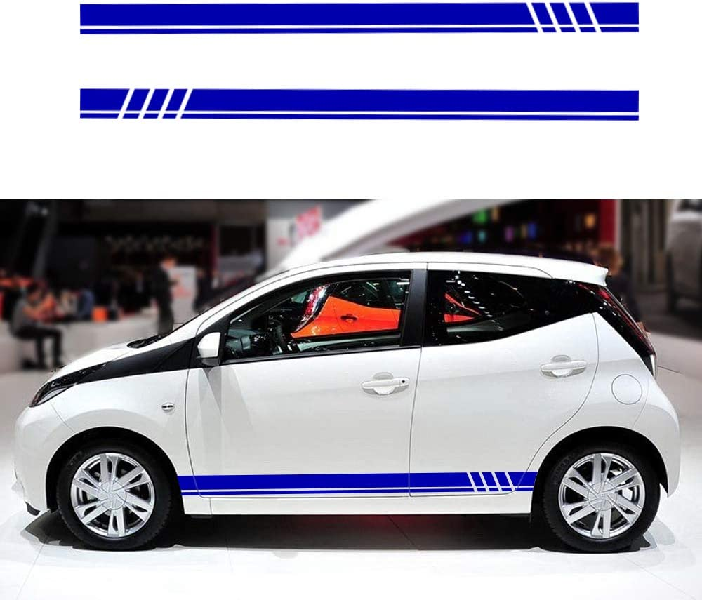 Für Aygo Auto Seite Karosserie Autoaufkleber Wetterfest Streifen Aufkleber Racing Seite Auto Tattoo Karosserie Deco 130 9cm Blau Auto
