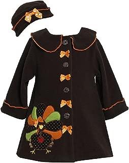 Baby-girls Applique Turkey Thanksgiving Winter Coat & Hat Set