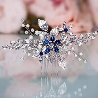 CanB Bride Hair Comb Flower Wedding Hair Accessories Leaf Crystal Bridal Headpieces Hair Decoration Jewelry for Women and Girls Silver