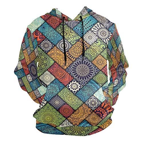 Moda impresión 3D Diagonal Floral Baldosas Patrón Unisex Pullover Cool Sudaderas con bolsillo canguro para hombres y mujeres