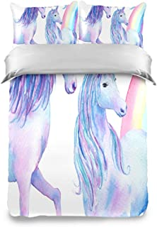 Watercolor Over The Rainbow Unicorns Kids Bedding Comforter Cover Sets Soft Crystal Velvet Cotton Satin Hotel Collection–Home Decorative 3 Piece Bedding Set with 2 Pillow Shams/Pillowcase