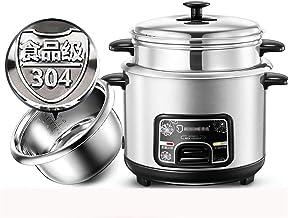 Rice Cooker Steamer (2/3/4 / 5L) 304 rijstkoker van roestvrij staal, met spatel en maatbeker, voor 1-7 personen (maat: 3L)