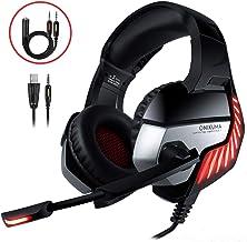Cascos Gaming CHEREEKI Cascos para Juegos PS4, PC, Xbox One Auriculares Gaming Estéreo Ajustable Gaming con Micrófono y Control de Volumen, Bass Surround y Cancelación de Ruido (Rojo)