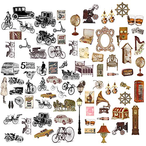 Feelairy 120pcs Pegatinas Scrapbooking, Pegatinas Bcicleta Vintage Stickers Decorativas para Bullet Journal, álbum de Fotos, Diario de Balas, Calendario, Cuaderno