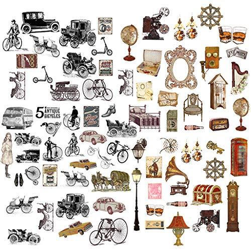 Feelairy 120 Pcs Scrapbooking Autocollants Stickers Vélo Vintage Motif Déco Autocollants pour Album Photo Bullet Journal Scrapbook Livre d'or Calendrier Cahier Journal DIY Décoration