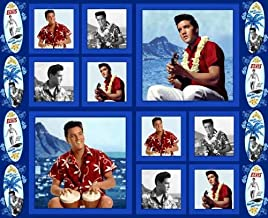 Blue Hawaii ELVIS PRESLEY Fabric Panel (Great for Sewing, Crafting, Quilting, Wall Hanging or Throw Pillows) 35