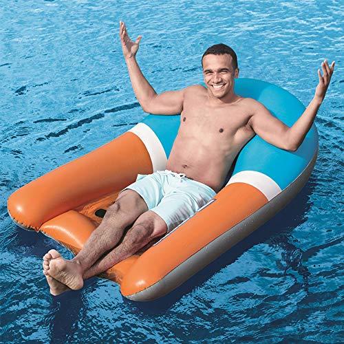 MICOKY Aufblasbare Schwebebett Erwachsene Wasserbett Hollow Back Recliner Kinder Spielen Wasser Schwimmen Ausrüstung Strand Surfen Schwimm Reihe Faules Sofa 165 * 120