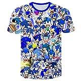 Sonic The Hedgehog Camiseta Ligera niños tee Animado impresión Camiseta de los niños Camisetas Casuales de Manga Corta Tops (Color : A08, Size : 100)