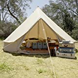 Psyclone Tents Fixed Floor 10 Windows 5m/16.4ft Luxury Outdoor All Weather 8-10 Person Cotton Canvas Yurt Large Bell Tent for Family Camping Glamping Hiking and Festivals