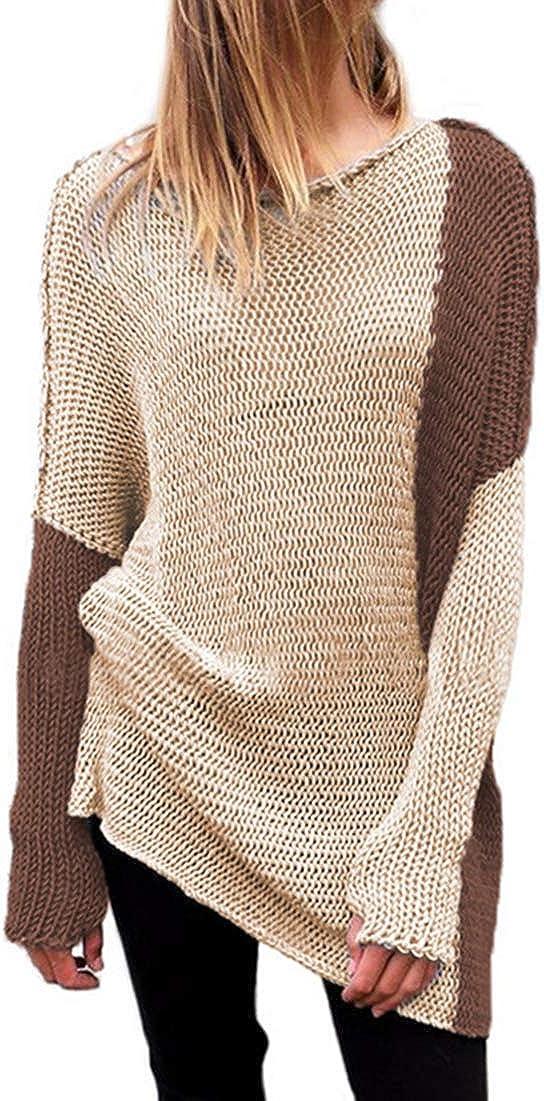 Achruor Jersey Largo para Mujer Su/éter de Punto Manga Larga Color S/ólido Cuello en V Pullover con Cremallera Sudadera Caliente Grueso Oto/ño Invierno
