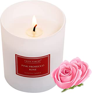 TALENT FAREAST Pink Prosecco Rose Scented Candle for Home Luxury Aromatherapy Candles 8oz. 40 Hour Rich Aroma Gift Natural...