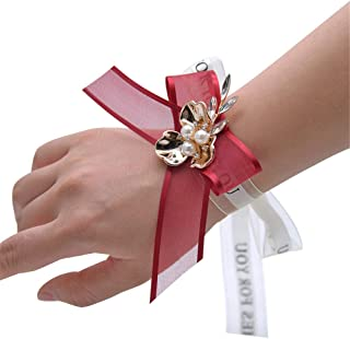 AXEDENRT Wedding Planner Wrist Bead Wristband Brides Wedding Flowers Wedding Flower Corsage Wristband for Wedding Wedding Wrist Corsage Flower Corsage for Prom Party Flower Corsages Stretch Bracelet