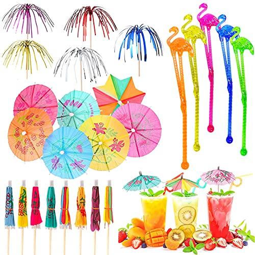 Decoraciones de Fiesta de Cócteles, Papel Paraguas de Cóctel,Palitos Cócteles,Bebidas Tropicales Etiqueta,Decoración...