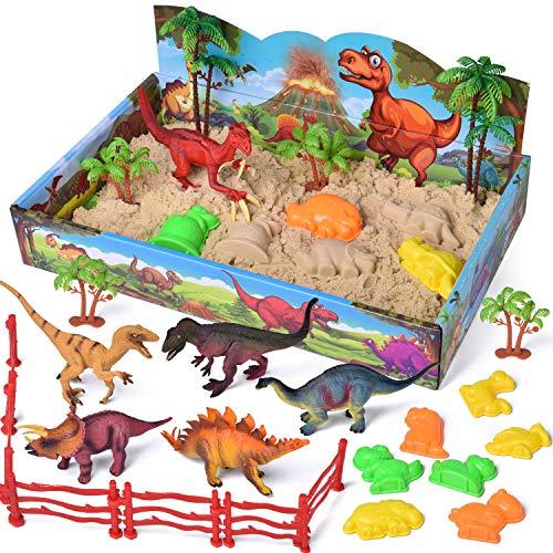FUN LITTLE TOYS 29 PCs Play Sand Dinosaur Toys, Sand Box with Dinsoaur Figures, Dinosaur Molds, Magic Sand and Accessories