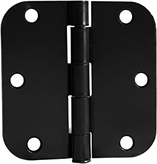 Door Hinges in Either Oil Rubbed Bronze or Satin Nickel Colors - 3.5 x 3.5 Inch Interior Hinges for Doors with 5/8 Radius Corners - Pack of 6 or 18 Hinges (Flat Black - Pack of 18)