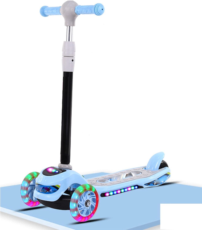 Con luces LED de PU de tres ruedas, adecuadas para niños y niñas de 2 a 16 años. Patinete infantil plegable, 3 niveles de altura regulable, apto para principiantes, carga máxima 80 kg -B/D