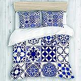 KOSALAER Bedding Juego de Funda de Edredón, Patrón marroquí Lisboa Floral Mosaico Mediterráneo Azul Marino Mexicano Arabesque, de Almohada de Microfibra,240 x 260cm