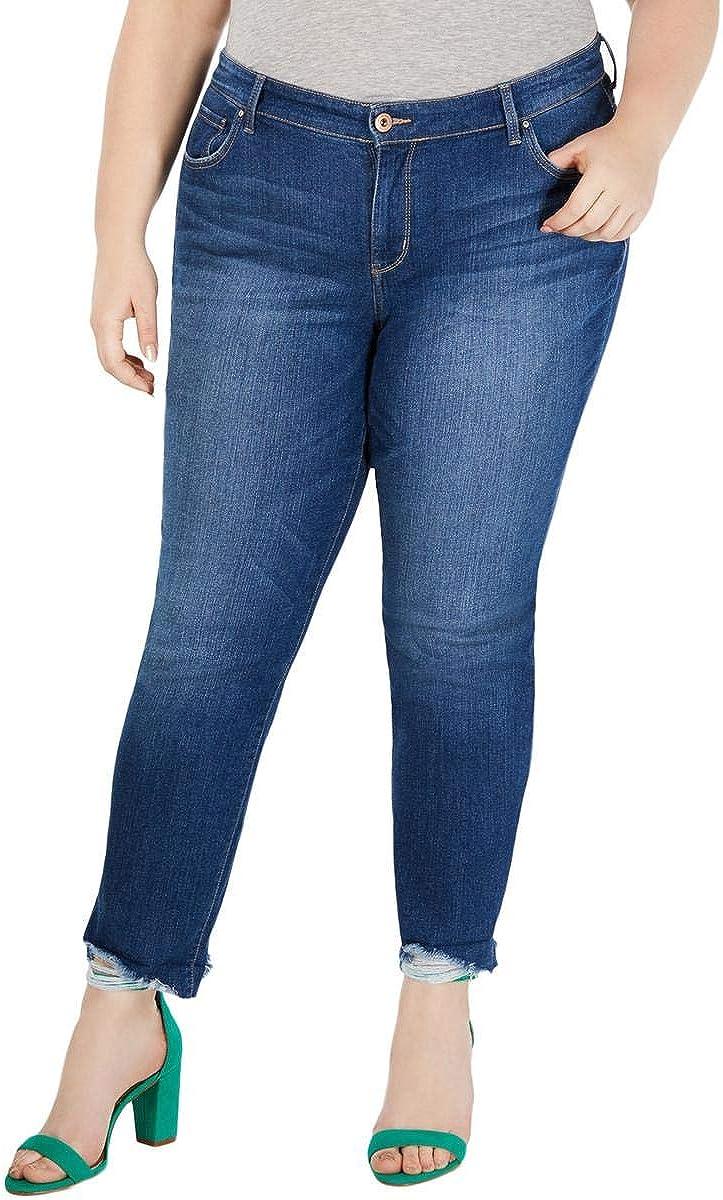 I-N-C Womens Distressed Boyfriend Fit Jeans