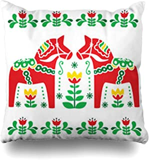 Homeyard Throw Pillow Cover Figurine Green Nordic Swedish Dala Daleclarian Horse Folk Flowers Pattern Vintage Red Scandinavian Home Decor Sofa Cushion Square Size 20 x 20 Inches Zippered Pillowcase