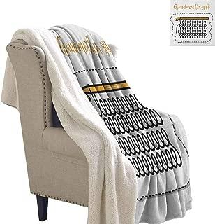 Willsd Grandma Baby Blanket Knitting Design and Hand Lettering Illustration with Vintage Inspirations Throw Blanket Picnic Blanket Marigold Black White W59 x L78